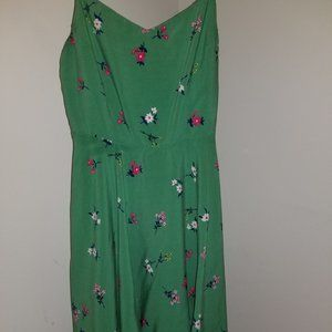 S Green Floral Fit&Flare Sundress